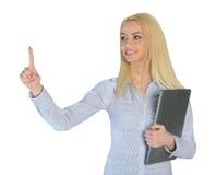 Geschäftsfraupresse etwas Lizenzfreies Stockbild
