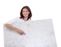 Geschäftsfraupunkte zur Karte Lizenzfreie Stockbilder