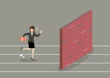 Geschäftsfraurennen zur Sackgasse Lizenzfreie Stockbilder