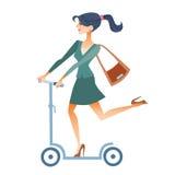 Geschäftsfraurollerfahrten zu arbeiten Lizenzfreies Stockfoto