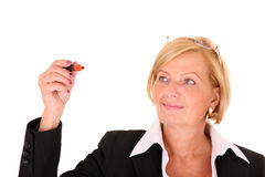 Geschäftsfrauschreiben über Weiß Lizenzfreie Stockfotos