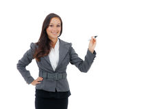 Geschäftsfrauschreiben auf Kopienraum Lizenzfreie Stockfotos