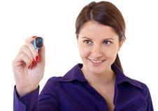 Geschäftsfrauschreiben etwas lizenzfreies stockbild