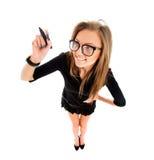 Geschäftsfrauschreiben mit schwarzem Markierungsstift Lizenzfreie Stockfotografie