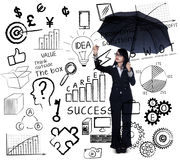 Geschäftsfrauschreibens-Geschäftsstrategie Stockbilder