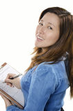 Geschäftsfrauschreibensanmerkung Stockbilder