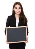 Geschäftsfraushow mit schwarzem Brett Lizenzfreies Stockbild