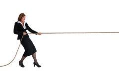 Geschäftsfrautauziehen lokalisiert auf Weiß Lizenzfreies Stockbild