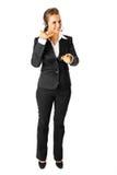 Geschäftsfrauvertretung bringen mich Geste in Kontakt Lizenzfreie Stockbilder