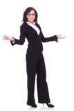 Geschäftsfrauwillkommen Sie Stockfoto
