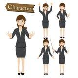 Geschäftsfrauzeichensatz-Vektorillustration Lizenzfreie Stockbilder