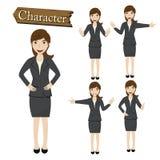 Geschäftsfrauzeichensatz-Vektorillustration Stockbild