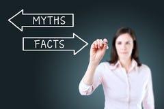 Geschäftsfrauzeichnen Mythos- oder Tatsachenkonzept auf dem virtuellen Schirm Hintergrund für eine Einladungskarte oder einen Glü Stockbild
