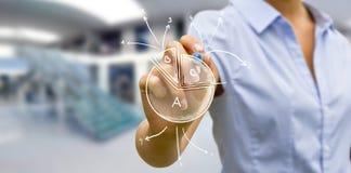 Geschäftsfrauzeichnungsdiagramm Lizenzfreies Stockfoto