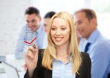 Geschäftsfrauzeichnungsprüfzeichen auf virtuellem Schirm Lizenzfreie Stockfotos