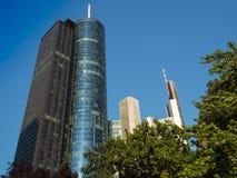 Geschäftsgebäude im Finanzbezirk von Frankfurt, Mikrobe Lizenzfreie Stockbilder