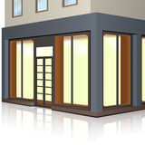 Geschäftsgebäude mit Schaufenstern und Eingang Lizenzfreie Stockfotos