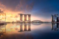Geschäftsgebiet- und Jachthafenbucht in Singapur Lizenzfreies Stockfoto