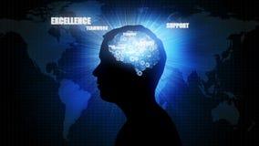 Geschäftsgehirn: Geschäftsmannschattenbild stock abbildung