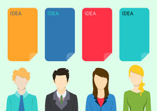 Geschäftsgeistesblitz mit Leuteschattenbildern und Ideensprachekästen Lizenzfreie Stockfotografie