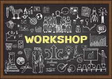 Geschäftsgekritzel auf Tafel mit Werkstattkonzept Hand gezeichneter Unternehmensplan auf Tafel Stockbild