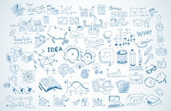 Geschäftsgekritzel Skizze eingestellt: infographics Elemente lokalisiert, Vektorformen lizenzfreie stockfotografie