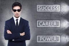 Geschäftsgrundlagenwörter mit Geschäftsmann Lizenzfreie Stockfotos