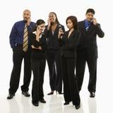 Geschäftsgruppe mit Telefonen Stockfotos