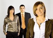 Geschäftsgruppe mit weiblichem Führer lizenzfreie stockfotos