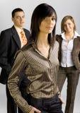 Geschäftsgruppe mit weiblichem Führer stockbilder