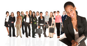 Geschäftsgruppe nur der Frau stockbilder