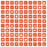 100 Geschäftsgruppeikonen stellten Schmutz orange ein lizenzfreie abbildung
