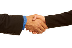Geschäftshändedruck, der das Abkommen versiegelt Stockfoto
