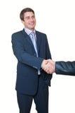 Geschäftshändedruck. junger stattlicher Geschäftsmann lizenzfreies stockfoto