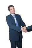 Geschäftshändedruck mit beiden Händen stockbild
