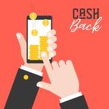 Geschäftshand, die intelligentes Telefon und Bargeld vom applica zurückbekommen hält vektor abbildung