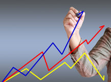 Geschäftshand schreiben Diagramm. Lizenzfreie Stockbilder