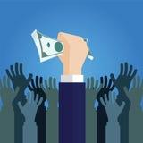 Geschäftshandbargeld die Gelddollar und die Handgriffe viel Montag Stockbilder