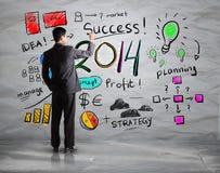 Geschäftshandzeichnungsgeschäft in Jahr 2014 Stockbilder