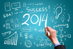 Geschäftshandzeichnungsgeschäft in Jahr 2014 Stockbild