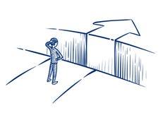 Geschäftsherausforderungskonzept Geschäftsmann überwindt Hindernisabgrund auf Weise zum Erfolg Hand gezeichnete vektorabbildung vektor abbildung