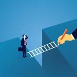 Geschäftsherausforderungskonzept Geschäftsmann Led zu über Gap-Herausforderung Lizenzfreies Stockbild