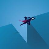 Geschäftsherausforderungskonzept Supergeschäftsmann Flying Over Gap Lizenzfreies Stockfoto