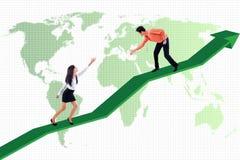 Geschäftshilfe, zum des globalen Erfolgs zu erzielen Stockbild