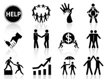 Geschäftshilfenikonen Stockfoto