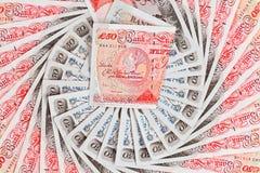 Geschäftshintergrund mit 50 Pfundsterling-Banknoten Stockfotografie