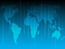 Geschäftshintergrund mit Weltkarte und vielen Zahlen Stockfotografie