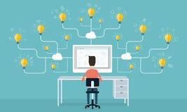 Geschäftsideen auf Wolkenon-line-Konzept Lizenzfreies Stockfoto