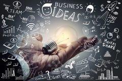 Geschäftsideen Glühlampe an Hand mit Freihandzeichnenzeichnungsgeschäft Stockfotos