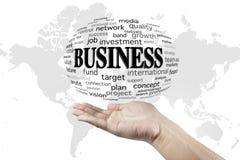 Geschäftsideen-Wortwolke im Hintergrund Stockbilder